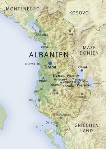 Karte Albanien.Chw Länderinfo Albanien