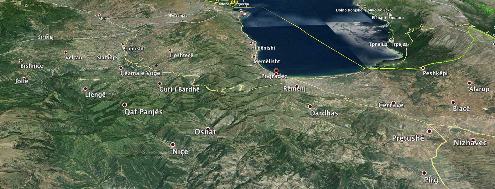 Die Kommunen westlich und südlich des Ohridsees werden zu einer großen Kommune Pogradec zusammengelegt – mit langen Wegen für die Bewohner der abgelegenen Dörfer wie Bishnica  (Foto: Google Earth)