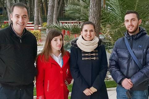 Mitarbeiter der DA: Leonard Berberi, Aurora Zeqo, Drilona Tahir und Benard Leka (von links)