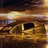 Heftige Regenfälle führten in Skopje, Mazedonien zu Überschwemmungen