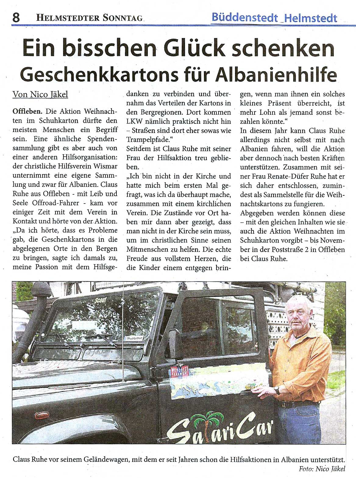 Bericht im Helmstedter Sonntag, 02.10.2016