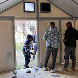 Shelter-Aufbau in Lezhë