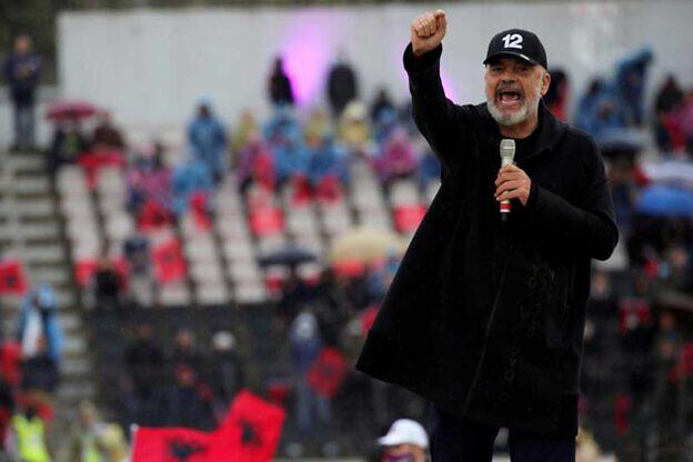 Premier Edi Rama auf einer Wahlkampfkundgebung seiner Sozialistischen Partei